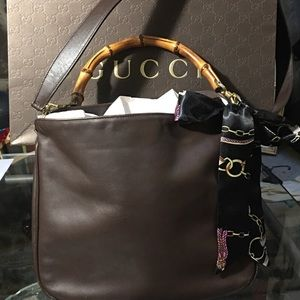 Auth Gucci bamboo two way handbag